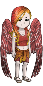 Female human avatar with red wings and hair.