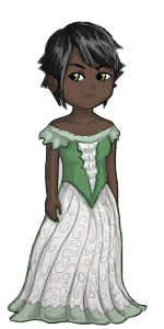 Female human avatar with green and white gown.