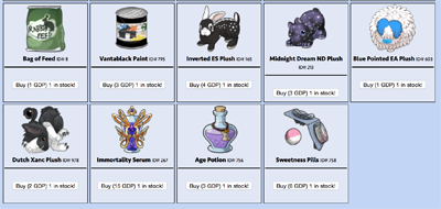 Good deed point shop with items in it.